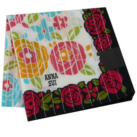 【ANNA SUI 】色彩繽紛-紫玫瑰花邊大帕巾