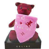 CELINE 經典圖紋小熊&方巾禮盒(暗紅色)