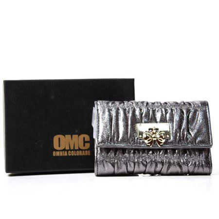 OMC OMNIA COLORARE 時尚抓皺慕斯三折式中夾 銀色