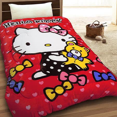 【享夢城堡】HELLO KITTY 小熊寶貝 法蘭絨毯被(紅)
