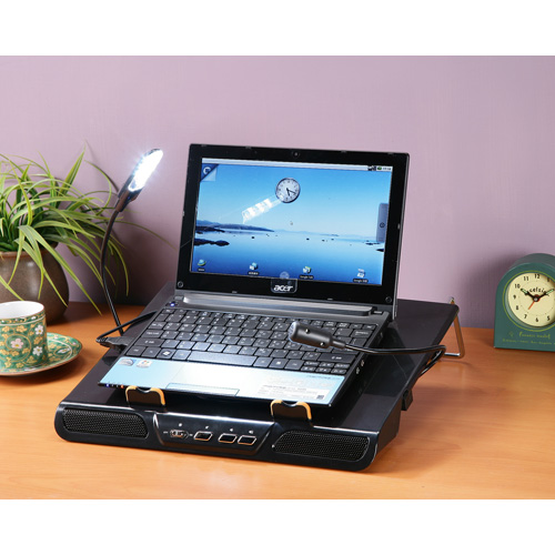 《C&B》桌上型多功能NB架-(附風扇.LED燈.麥克風.喇叭.USB Hub)