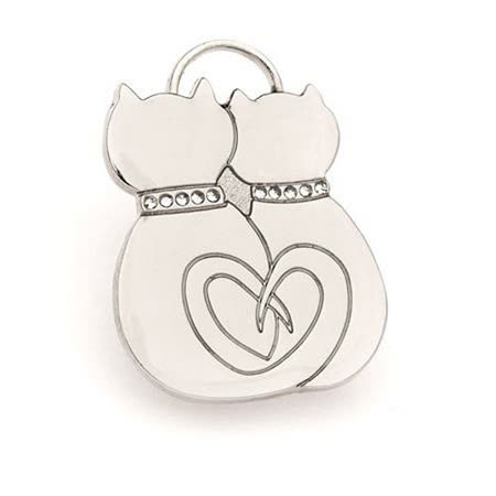 【私心大推】gohappy快樂購物網澳洲品牌Hamish McBeth 相愛貓咪Bling Bling 水晶吊牌 (銀色)開箱遠東 購物