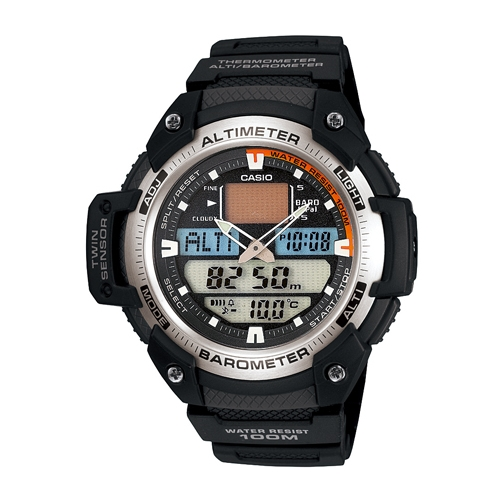 CASIO 巔峰悍將雙感測量運動雙顯錶(膠帶/銀灰框)