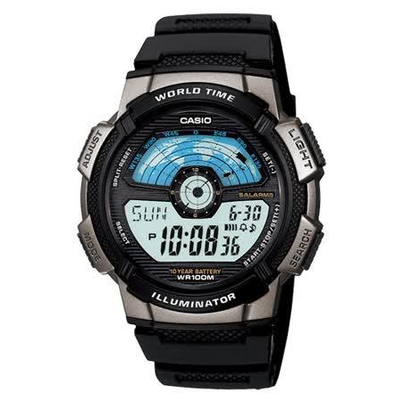 CASIO閃電世界戰士運動電子錶(膠帶/銀灰框)