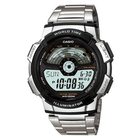 CASIO閃電世界戰士運動電子錶(鋼帶)