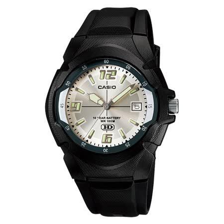 CASIO 休閒個性運動膠帶錶(金屬白)