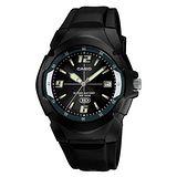CASIO 休閒個性運動膠帶錶(金屬黑)