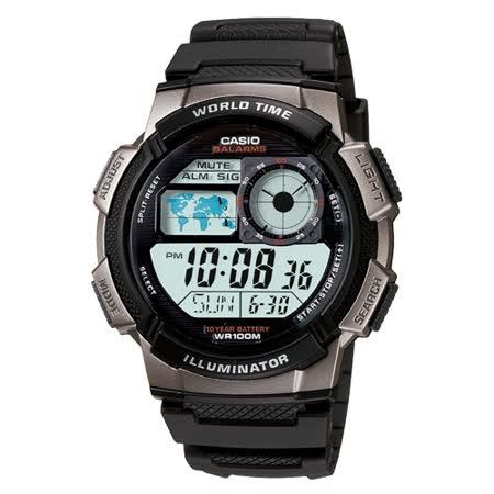 CASIO雷霆世界戰士運動電子錶(銀灰框)