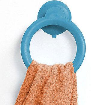 《A3》O 型壁吸式毛巾掛架(藍)