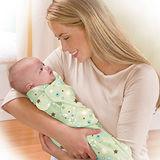 美國 Summer Infant SwaddleMe【純棉薄款 - 綠彩星星】, 小號 - 可調式懶人包巾