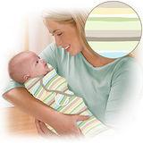 (預計2/21出貨)美國 Summer Infant SwaddleMe【純棉薄款 - 嫩綠條紋】, 小號 - 可調式懶人包巾