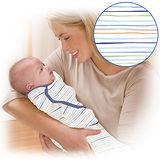 美國 Summer Infant SwaddleMe【純棉薄款 - 粉藍條紋】, 小號 - 可調式懶人包巾