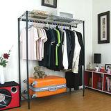 二層吊衣架[單桿鐵線]-黑色45Dx120Wx151H公分