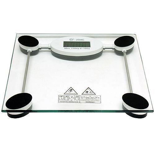 黑白方型150公斤鋼化玻璃體重計(2008C)