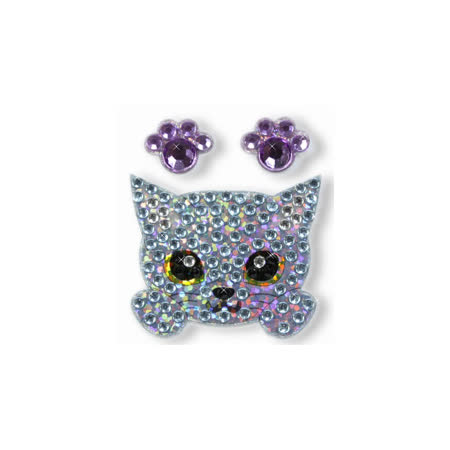 Docky嚴選_超可愛貓寶貝水鑽手機貼紙_俄羅斯藍貓
