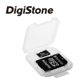 DigiStone優質 MicroSD/SDHC 1片裝記憶卡收納盒/白透明色 (3個)