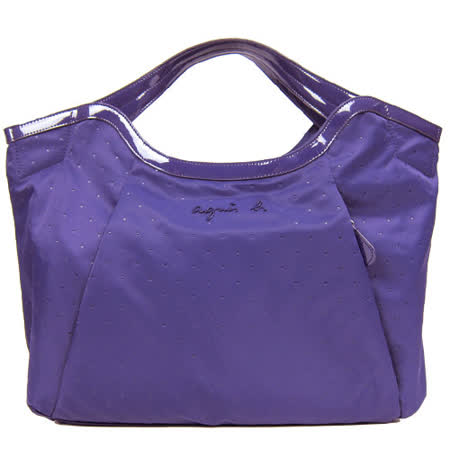 agnes b 點點印紋手提包(大/紫)
