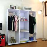 開放式衣櫃-(雙吊衣桿+三大格)-臺灣製造(附有背板設計)40Dx120Wx125H/公分(二色可選)