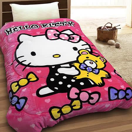 【享夢城堡】HELLO KITTY 小熊寶貝 法蘭絨毯被(粉)