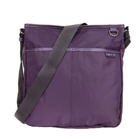 agnes b 雙口袋方形斜背包(大/紫)