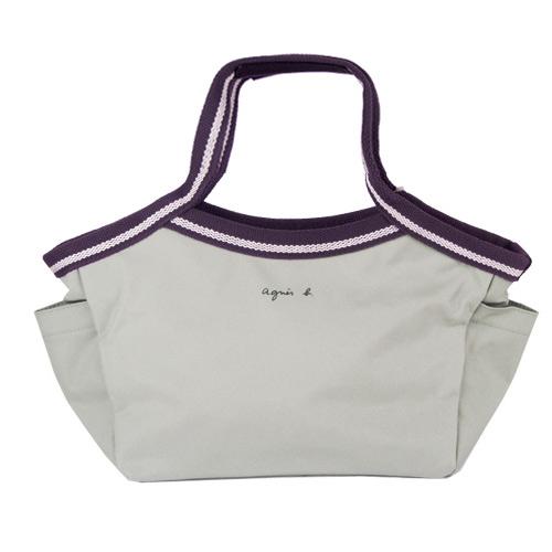 agnes b.簡約基本款手提包(小/灰紫)