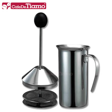 【網購】gohappy快樂購CafeDeTiamo 雙層濾網 不鏽鋼奶泡杯 300cc (HA2228)效果高雄 愛 買 吉安