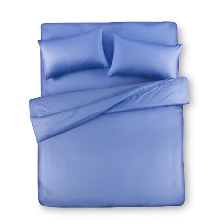 【Famttini-典藏原色】加大四件式純棉床包組-藍色