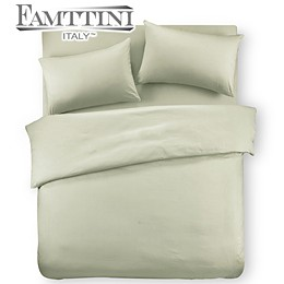 【Famttini-典藏原色】雙人四件式純棉床包組-香檳綠