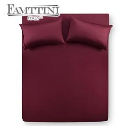 【Famttini-典藏原色】雙人三件式純棉床包組-棗紅