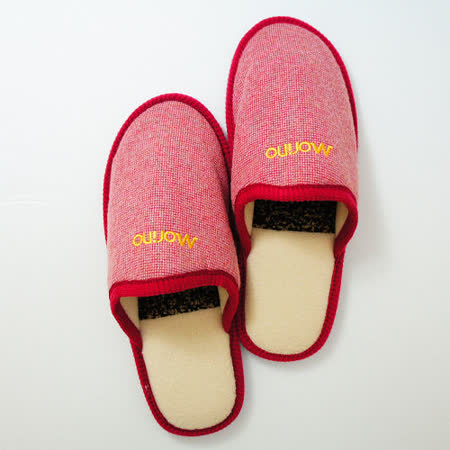 【MORINO摩力諾】格紋紓壓減震室內拖鞋-紅色