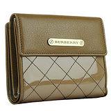 菱格紋高貴感日系BURBERRY黑標新款菱格亮面短夾(外零錢袋)-茶