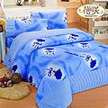 【Hanasaki】玫瑰情韻加大被套床包組-藍