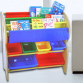 破盤商品!【台灣生產】寶貝家-兒童書報玩具收納架 (2大桶+4中桶)
