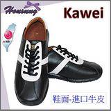 Kawei台灣精品魅力男仕休閒鞋/黑色白寬條-網