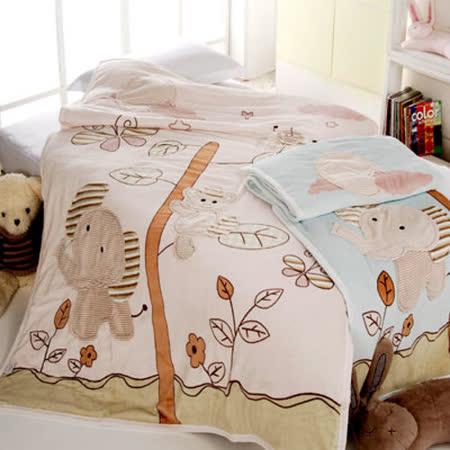 義大利Fancy Belle《蝴蝶與大象》單人貼布棉毯--藍色