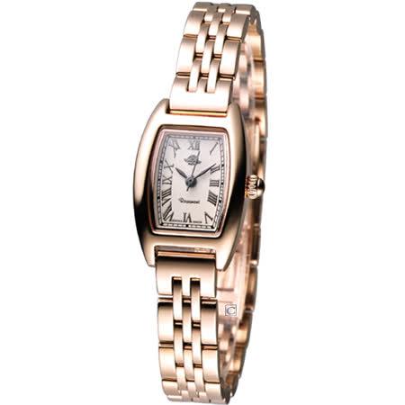 Rosemont 酒桶型玫瑰系列 時尚腕錶TRS003-04玫瑰金色