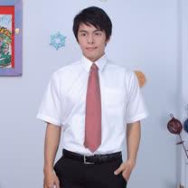 JIA HUEI 短袖男仕吸濕排汗防皺襯衫 白色 [台灣製造]