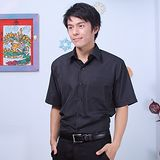 JIA HUEI 短袖男仕吸濕排汗防皺襯衫 黑色 [台灣製造]