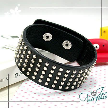 【伊飾童話】黑色龐克*皮質鉚釘手環