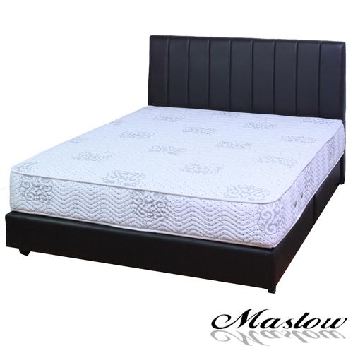 【Maslow-簡約線條黑色皮製】加大床組-6尺(不含床墊)