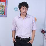 JIA HUEI 短袖柔挺領男仕吸濕排汗襯衫 3158細條紋系列 粉紅色 [台灣製造]