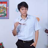 JIA HUEI 短袖柔挺領男仕吸濕排汗襯衫 3158細條紋系列 藍色 [台灣製造]