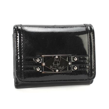 Crystal Ball 鉚釘銀飾亮面零錢包3折短夾-黑色