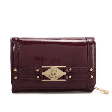 Crystal Ball 鉚釘金飾亮面零錢包中夾-酒紅紫