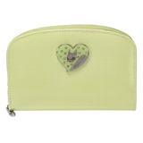 Crystal Ball 俏皮愛心飾鑽弧型拉鍵中夾-粉綠