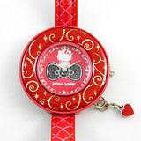 《Hello Kitty》進口時尚大錶面手錶-星光派對-紅金