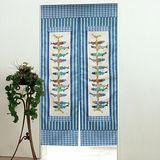 棉花田【串魚】日式印花長門簾-藍色(85x150cm)