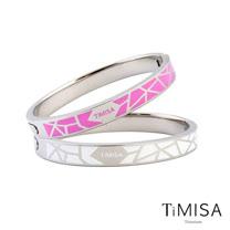 【TiMISA】個性主義 純鈦手環(桃+白)