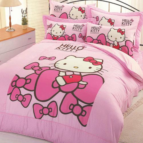 Hello Kitty蝴蝶結-單人床包被單三件組
