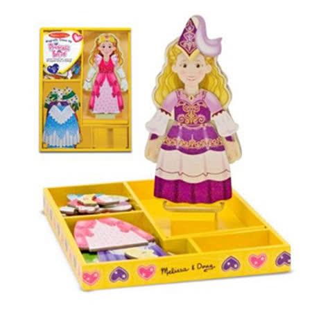 美國 Melissa & Doug 木製站立式 磁力換裝娃娃組-愛麗絲公主魔法衣櫃